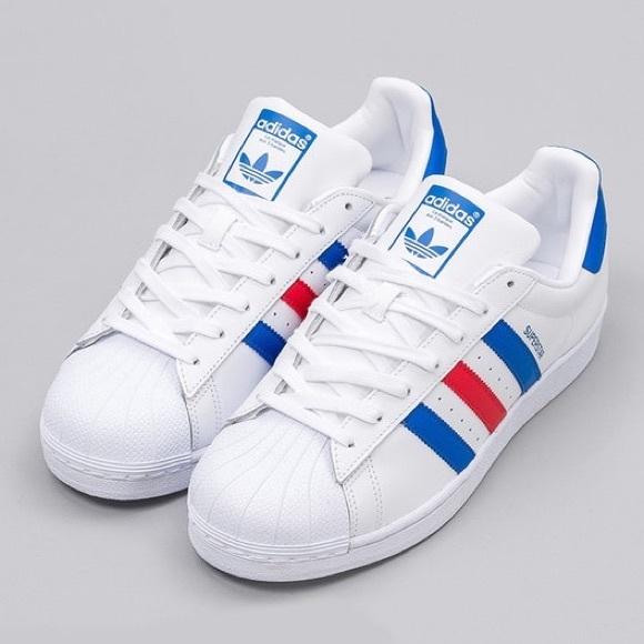 le adidas superstar tricolore blu, rosso poshmark originale